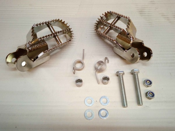 Maico footpegs MY 81-87 stainless steel with Kit